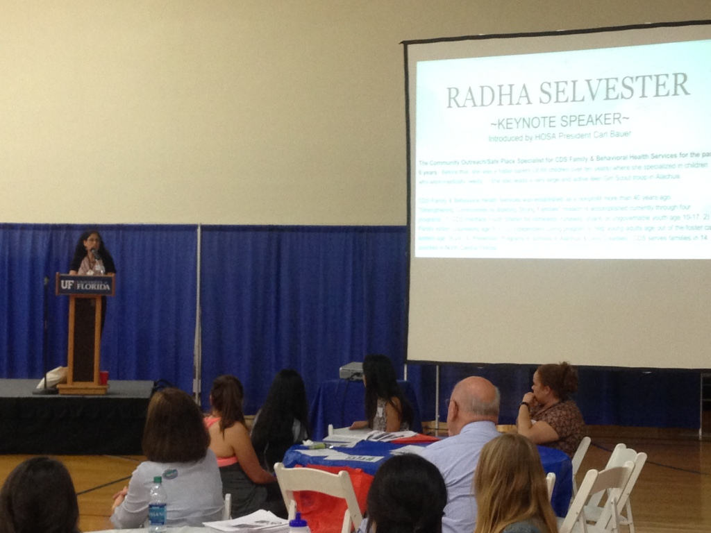 """Radha Selvester, a specialist for CDS Family and behavioral health sciences, shares her advises with UF students at the Community Health Summit: """"You're all on the threshold of those adult careers coming up. Your majors will probably change, but that's ok. Just go with the flow."""" Photo by Jeremy Steiner."""