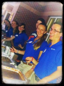 The SHO Officers prepare to serve Sonny's Barbeque to Honors students at the annual SHO Back to School Barbeque.